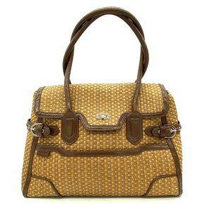 CROSS Wicker Straw Large Satchel Bag Purse #428